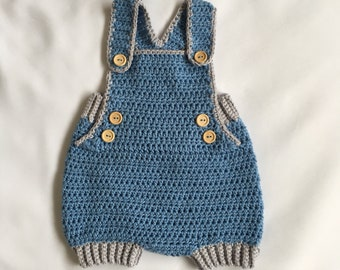 Blue and grey baby overalls