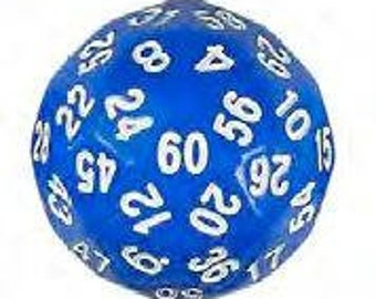 Single Dice: D60 35mm Single Blue with White Numbers