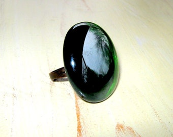 Emerald Green Ring - Round Ring - Glass Stone - Cocktail Ring - Large Round Ring - Green Jewelry - Dark Green - Adjustable