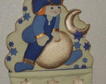 Vtg Revolutionary War Soldier Blue and Gold Stocking