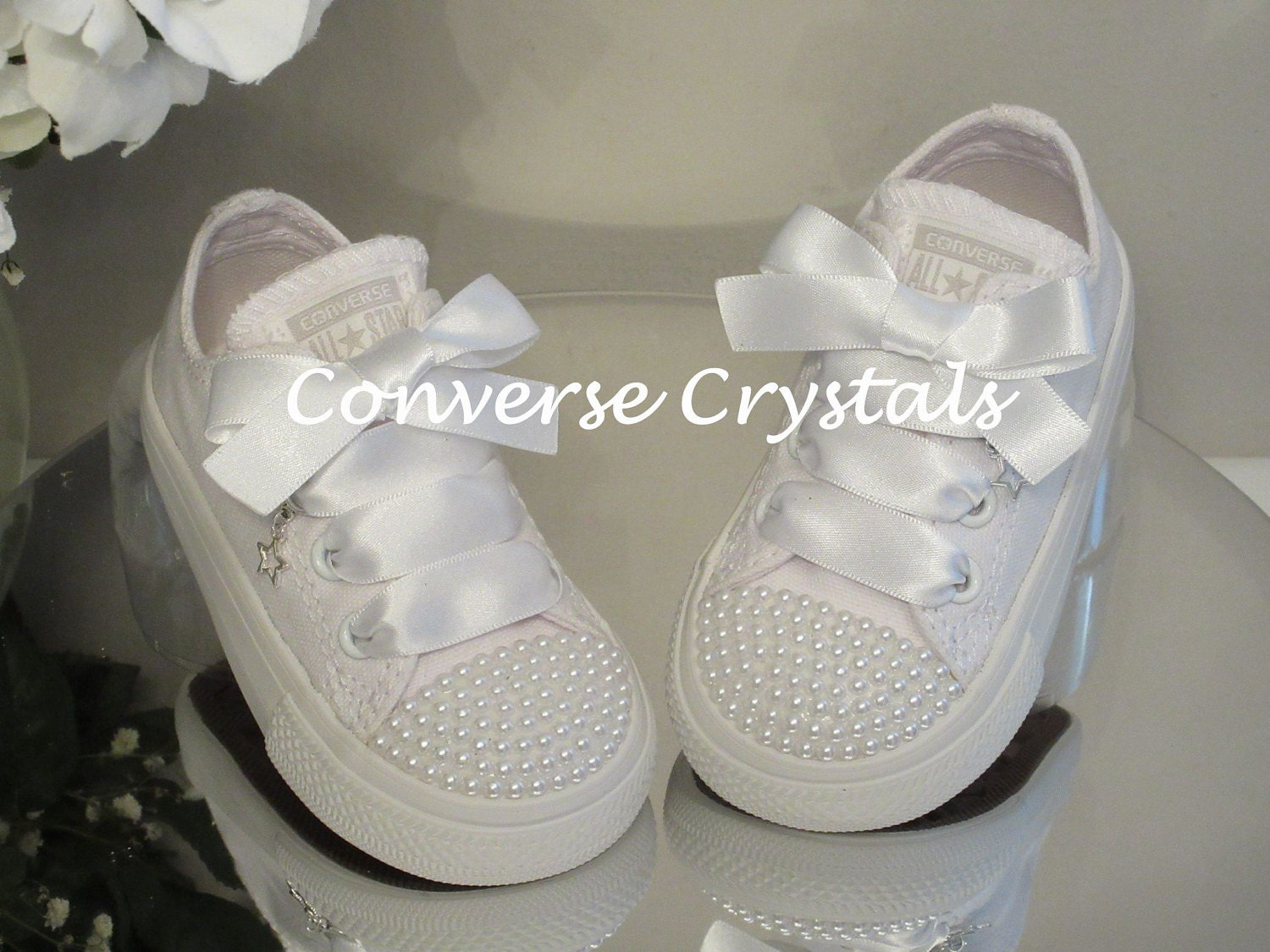 Mono White Custom Pearl Toes  Bling  Converse Infant Sizes 2-10 e3c286281