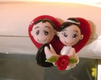 Magnet: Figurine, cold porcelain wedding couple.