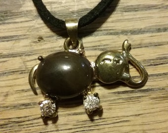 Brown Elephant Pendant Necklace #22