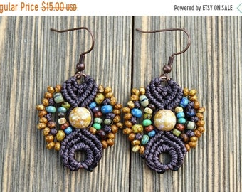 SALE Micro-Macrame Earrings - Chocolate Picasso Mix