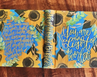 The Stephanie Bible // ESV Journaling Bible // Close-Up Sunflower Theme