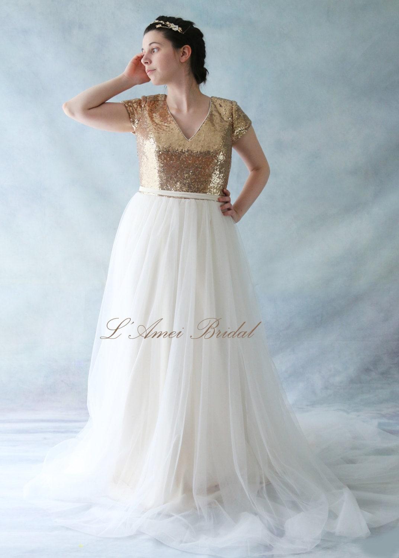 SALE-Gorgeous Floor length A-Line Golden Sequin Prom Dress