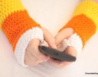 Fingerless gloves, Crochet Candy Corn Fingerless gloves,
