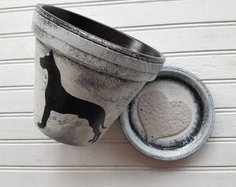 Painted Flower Pot - Large Planter - 8 inch Planter - Great Dane Gift - Dog Lover Gift - Great Dane Breed