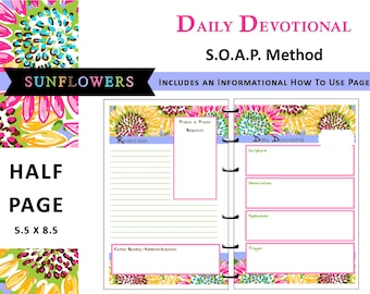 Lilly Inspired Printable Daily Devotional / Bible Study - S.O.A.P Method - HALF PAGE - Tropical, Sunflowers, Pink, Blue, Yellow, Preppy