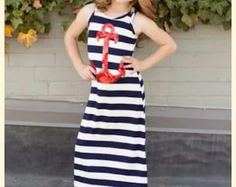 Nautical Dress- Anchor Dress-Girls 2T 3T 8-Mom and Me- New England Dress-Girls Beachwear-Girls Summer Maxi Dress-Toddler Nautical