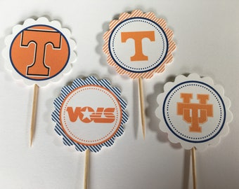University of Tennessee Vols - 12 cupcake toppers