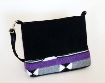 FELTED Black & Purple WOOL Cross Body Bag-Shoulderbag / Cashmere and Rabbit Fur /  From Upcycled Sweaters - Eco Friendly Christmas Gift #011