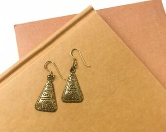 Etched Brass Earrings, Brass Triangle Earrings, Boho Drop Dangle Earrings, Minimalist, Boho, Earrings, Jewelry, Vintage 90s Earrings