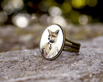 Fox Ring Antique Bronze Adjustable Art Jewelry
