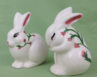 Vintage Easter Bunnies, Hand Painted Ceramic, Holiday Decor