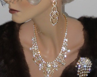 Glamorous Vintage Crystal Jewelry Set Czechoslovakia 5-pcs