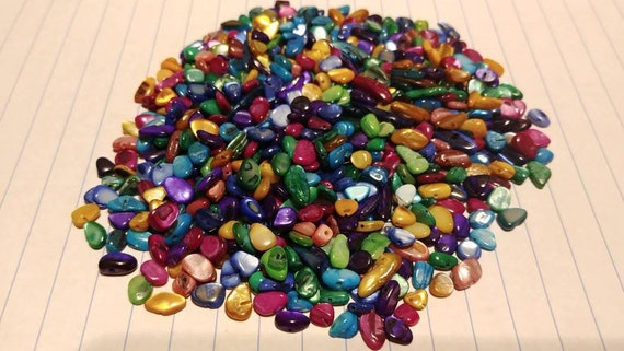 Broken Shell Pieces, Dyed Mother-of-Pearl Shells, Arts and Crafts, Colorful Bright Art Project Supply