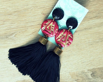 Long earrings with tassel, magenta&black,polymer clay