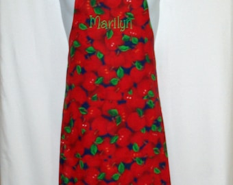 Red Apple Apron, Personalize With Name, No Shipping Charges, Ready To Ship TODAY, AGFT 318