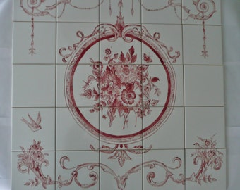 """French Country Floral Handpainted Tile Mural - 30"""" x 30"""" red and white"""