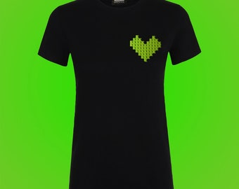 Black t-shirt with green LEGO® heart
