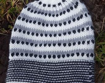 Alpaca Beanie or Alpaca Hat Spots Black-Lines White