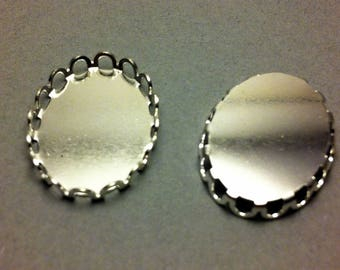 set of 5 oval cabochon supports silvers with frieze 19x14mm
