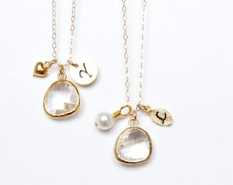 Customizable Bridesmaids Necklace / Clear Crystal Necklace / Multi charm Necklace / Initial Necklace / April Birthstone / Quartz Necklace