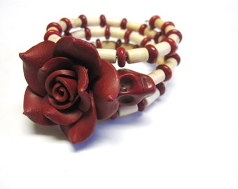 Day Of The Dead Bracelet Sugar Skull Jewelry Wrap Rose Red White Ivory