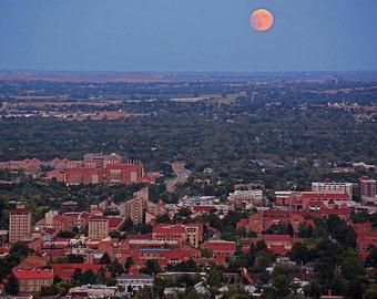 Super Moon over the University of Boulder, Boulder Colorado, Super Moon
