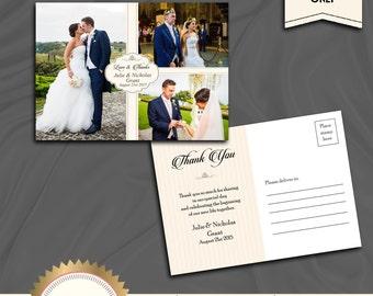 Elegant Wedding Thank You Card, Love and Thanks Wedding Thank You Photo Collage - 3 photos - Printable, Digital file, DIY