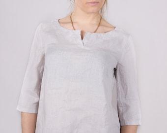Linen women shirt Linen women blouse Linen women top Round neckline shirt Linen T-shirt Women White Beige Orange Light Pink Light Grey shirt