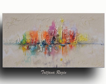 Skyline Abstract painting, Colorful Modern Oil Painting on canvas, texture, Cityscape, Abstract Art, Wall Art,Original Artwork, Custom