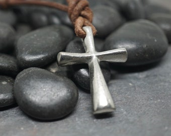 Surfer Necklace Cross on Distressed Leather Cord Surf Jewelry by Zulasurfing Abercrombie Fitch style