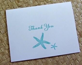 Beach Thank You Card, Starfish Thank You, Wedding Thank You, Party Thank You Card