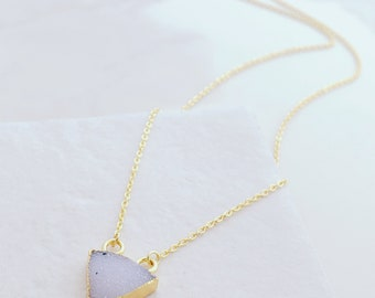 Electroplated Triangle Druzy Necklace