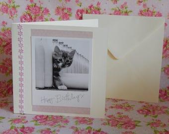 Happy birthday card cat theme/design handmade OOAK