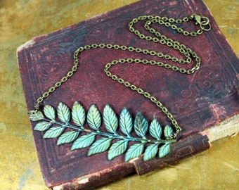 Verdigris Patina Leaves Necklace