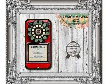 Retro Pay Phone iPhone Case, Hard Plastic iPhone Case, Fits iPhone 4, iPhone 4s, iPhone 5, iPhone 5s, iPhone 5c, iPhone 6, Phone Cover