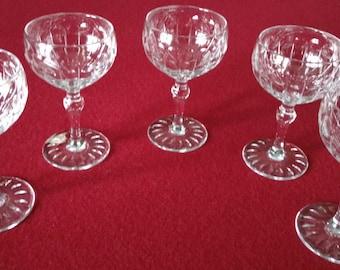 Sale!  Set of five (5)  Rare Harbridge Sherry/Cordial Stemmed Crystal Glasses