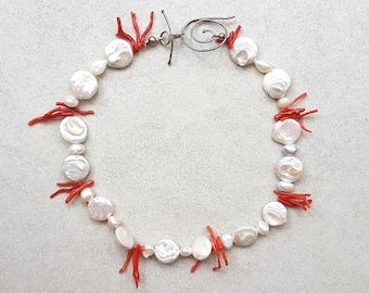 Coral and Pearls Necklace - Pearl Necklace - Unique Pearl Necklace - Coral Necklace - Pearl Jewelry - Natural Pearl Necklace