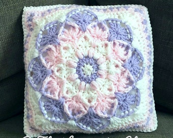 Kaleidoscope Lily Pillow Crochet Pattern *PDF FILE ONLY* Instant Download