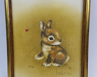 Vintage Peggy Harris Bunny Rabbit and Ladybug Oil Painting on Canvas COA