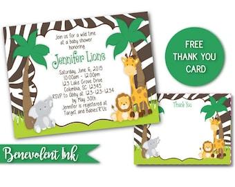 Safari Birthday Invitation - Jungle Animal Printable Birthday Party Invite - Zebra Stripe Birthday Invitation - Safari Theme Invitation