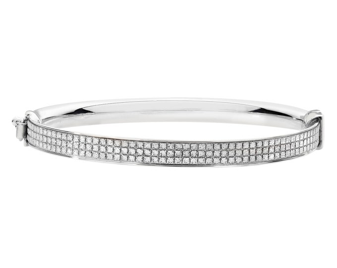 925 Sterling Silver Princess Pattern Stardust 4mm Hinged Baby Bangle