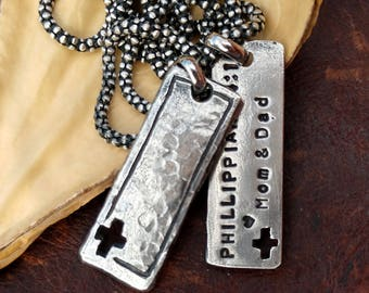 Mens Bar Necklace Personalized Necklace Rustic Necklace Dog Tag Necklace Gift for Men Christmas Gift for Him Religious Necklace Silver Cross