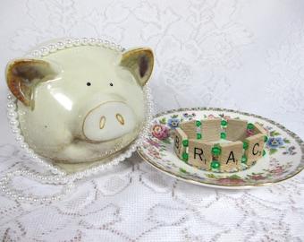 Scrabble Bracelet with Green Beads