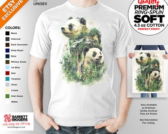 T Shirt of my Panda China Bamboo forest Surreal Nature Original art clothing design for Men and Women by Barrett Biggers