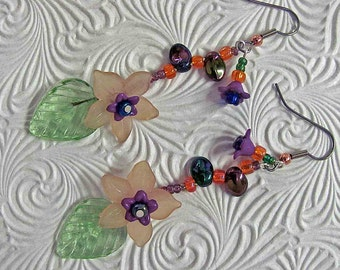 Flourish of Color... Garden Earrings for Dreaming and the Love of Beauty...