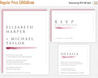 ON SALE Custom Minimalist Wedding Invitation